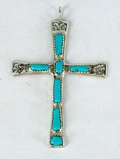 Authentic Native American Zuni Sterling Silver and Turquoise Cross pendant by Zuni Wilbur Iule