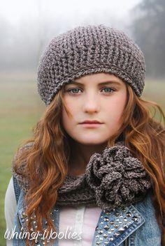 Pattern: 'Ciao Bella Beret & Neck Warmer', Crochet hat, Infinity Scarf, Women, Children, Toddler