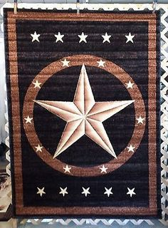 6X8, 3X4 Black Texas Star Country Western Rustic Lodge Cabin Area Rugs  Carpets