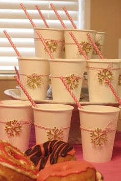 """Hot Cocoa Bar Cups for a """"Baby It's Cold Outside"""" Themed Shower 