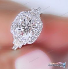 D/VVS1 Engagement Ring 2 Carat Round Cut Dimaond 14k White Gold Bridal Jewelry