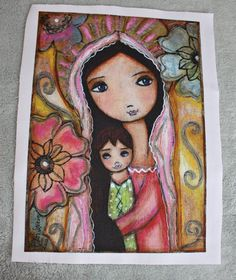 New! Only this one available! Young Madonna with Child and Flowers  Print on by FlorLarios, $45.00