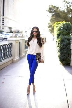 Loft Blue Pants. BR Creme Blouse. BR Nude Flats or Jessica Simpson Creme Pumps. Marc Jacobs Pink Shimmer Clutch.