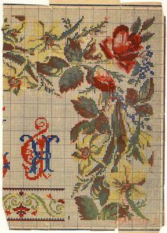 Gallery.ru / Фото #12 - Мои сканы из старинных журналов - Clematis Needlepoint Stitches, Needlework, Border Pattern, Clematis, Beautiful Roses, Pattern Making, Cross Stitch Patterns, Bohemian Rug, Art Deco