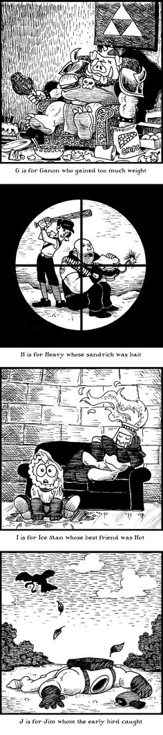 In honor of Edward Gorey (Fri. Feb 22, 2013) Brental Floss Comic #144 features game characters dying in a myriad of different ways
