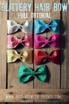 Glittery Hair Bow Tutorial | Super cute for little girl's hair, and SO EASY! #hairbow #tutorial #glitter