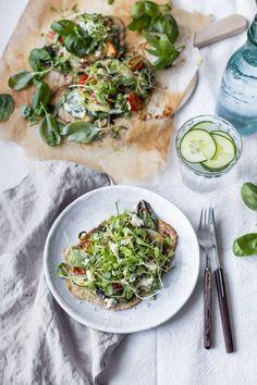 pesto-Summer Pizzas w / pesto, greens, zucchini, peach, tomato & mozzarella-2