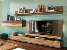 living room TV and storage system in white and oak