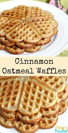 Easy recipe for Cinnamon Oatmeal Waffles. Great heart-smart breakfast for both kids and adults. Make your oatmeal into tasty and fun waffles! Breakfast Waffle Recipes, Waffle Maker Recipes, Breakfast Waffles, Breakfast Dishes, Pancakes, Oatmeal Waffles, Cinnamon Oatmeal, Breakfast Hotel, Breakfast Ideas