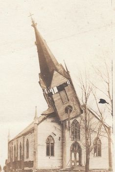 """Abandoned church. The steeple looks like it has a face. It's saying, """"Oh No!"""" as it topples from the roof."""
