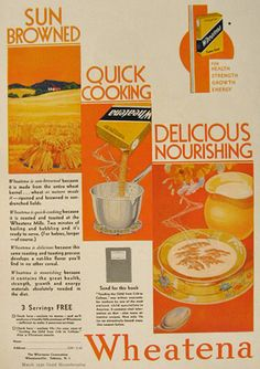 1930 Wheatena Cereal AD ~ Sun Browned, Quick Cooking ...