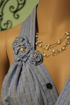 Mans dress shirt makeover into ladies halter top, umm. Yes, PLEASE. sewing-projects-for-mom