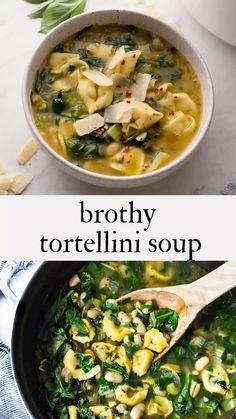 Brothy Soup Recipes, Healthy Soup Recipes, Vegetarian Recipes, Veggie Recipes, Cooking Recipes, Vegetarian Crockpot Soup, One Pot Vegetarian, Lunch Recipes, Tortellini Recipes