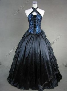 Victorian Gothic Satin Brocaded Dress Gown Prom by silvia