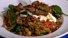 Moroccan lamb salad with chargrilled vegetables and couscous | This recipe was prepared at the launch of Measure Up – the Government's initiative in the fight against obesity – by Zahi Azzi and Aaron Callandar of Kazbah on Darling. It features a number of key ingredients in Moroccan cooking, including coucous, the spice mix ras el hanout, chermoula, pomegranate and spicy harissa.