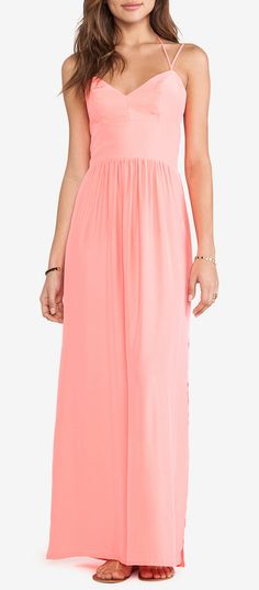 Amanda Uprichard Slit Maxi Gown in Neon Ballet