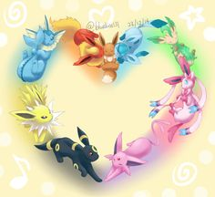 I needed a new phone background. and I kinda wanted to make an Eeveelution poster for a while. New arts for Eevee, Vaporeon, Jolteon, Espeon, Umbreon and Glaceon! Pokemon Eevee Evolutions, O Pokemon, Pokemon Memes, Pokemon Fan Art, Pokemon Mignon, Eevee Cute, Photo Pokémon, Hanya Tattoo, Pawer Rangers