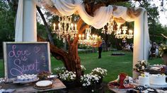 Beautiful Vintage Chandelier display over cake tables