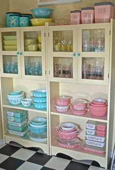 Pastel Pyrex kitchenware in display cabinet | Vintage Pyrex: Growing my Collection, Fun Fabrication Blog