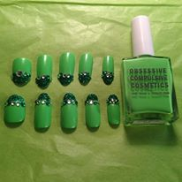 Chiffon Dior's nail art using Deven Green nail lacquer from OCCmakeup.com - 10 thumbs up LOL  https://twitter.com/ChiffonDior