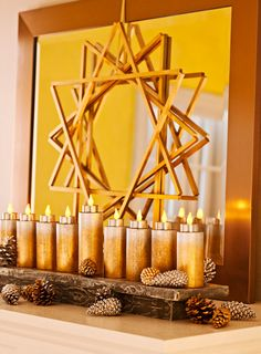 Hannukah decorations I loved this star - there was another shot of it later on in the Lowes Creative Ideas magazine showing a pair of these painted blue hanging in front of a window. Also like the Menorah idea. Feliz Hanukkah, Hanukkah Crafts, Jewish Crafts, Hanukkah Food, Hanukkah Decorations, Christmas Hanukkah, Happy Hanukkah, Christmas 2019, Hanukkah Bush