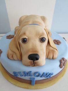 Labrador puppy cake - cake by SweetMamaMilano - CakesDecor Puppy Birthday, First Birthday Cakes, Crazy Cakes, Fancy Cakes, Torta Candy, Puppy Dog Cakes, Fantasy Cake, Fondant Animals, Cake Shapes