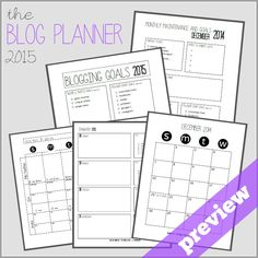 The Blog Planner 2015 Preview Blog Planner, Monthly Planner, Write It Down, Blog Tips, Organization, Organizing, Business Tips, Budgeting, Diy Ideas