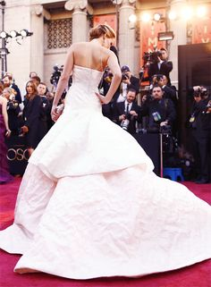 Back view of Jennifer Lawrence's Christian Dior (Spring 2013) Couture gown at the Oscars in 2013. Photo: Getty.