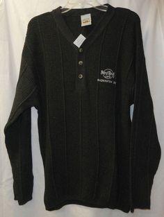 Mens HARD ROCK CAFE XL Henley Sweater Charcoal NEW NWT Washington DC Logo Gray #HardRockCafe #Henley