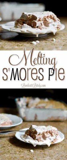 This Melting S'mores Pie looks so ooey, gooey, and delicious!  Uses simple ingredients (like chocolate pudding mix and marshmallow fluff) for an easy potluck dessert.  Yummy! Easy Potluck Desserts, Party Desserts, Delicious Desserts, Like Chocolate, Chocolate Pudding, Pie Recipes, Dessert Recipes, Easy Recipes, Summer Recipes
