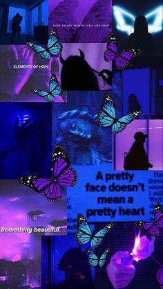 Retro Wallpaper Iphone, Mood Wallpaper, Iphone Wallpaper Tumblr Aesthetic, Purple Butterfly Wallpaper, Black And Blue Wallpaper, Blue Wallpapers, Pretty Wallpapers, Papillon Violet, Skate