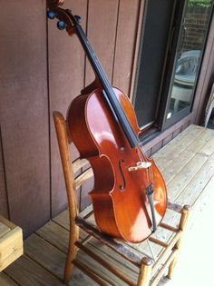 Cello stand made from an old chair