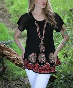 Loving this Black & Red Embroidered Lace-Front Tunic - Women on #zulily! #zulilyfinds