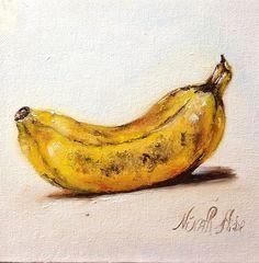 "Banana. Original Oil Painting by Nina R.Aide  Still Life. canvas panel. 6""x6"""