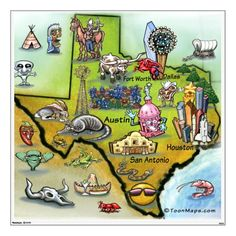 Texas Cartoon Map Art Print by Kevin Middleton. All prints are professionally printed, packaged, and shipped within 3 - 4 business days. Choose from multiple sizes and hundreds of frame and mat options. Texas Independence Day, Never Be Alone, Loving Texas, Texas Pride, Lone Star State, Texas History, Thing 1, Texas Travel, Texans