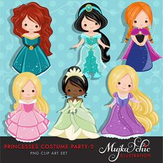 Princess Costume Party Clipart -2 with cute characters Instant Download Princess Graphics.