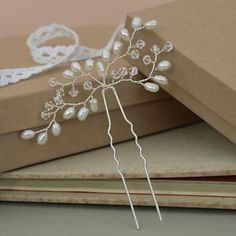Bud Wedding Hair Pin Pearl Hair Accessories by jewellerymadebyme