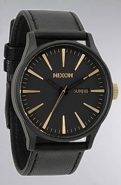 Nixon The Sentry Leather Watch in Matte Black Gold : Karmaloop.com - Global Concrete Culture