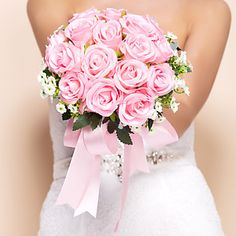 Elegant Round Shape Silk Wedding Bouquet – USD $ 28.99