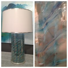 Venetian glass lamp in Carribbean by Festoni. Simple stunning design & gorgeous depth of color. It's like jewelry for your home. Suites at Market Square #hpmkt #stylespotters #blue #accessories #teal #peacock #aqua