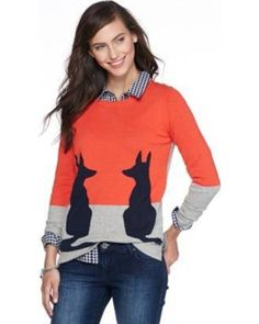 crown & ivy??? crown & ivy??? Fox Colorblock Intarsia Sweater from ...