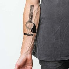 Acoustic Guitar Temporary Tattoo Set #Contemporary, #Guitar, #Tattoo