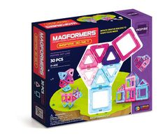Magformers Inspire Set (30 PCS) - Little hands are sure to love interacting with the magnetic nature of MAGFORMERS®. Containing squares and triangles in teals, purples and pinks, girls are sure to be inspired. Learn pull up tricks to build a 3D magic ball and combine pieces to build towers, princess castles, and much more! Inspire the creators of the future, today!