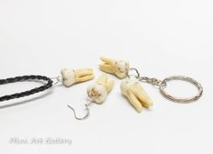 Tooth earring / human teeth replica / realistic decayed fake tooth jewelry / polymer clay charm / keychain