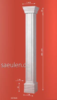 eckige Betonsäule  Art.Nr. TM 10 04  Höhe bis 296 cm   30 x 30 cm  Sockel 38x38 cm  #Säulen #Vordachsäulen #Hausbau #Bau    Kapitell 47,5x47,5 cm  Gewicht ca 200 Kg