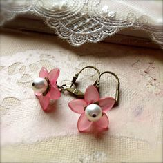 Pink Flower Earrings with White Swarovski Crystal Pearl and Lever Back Ear Wires  - Small Earrings.