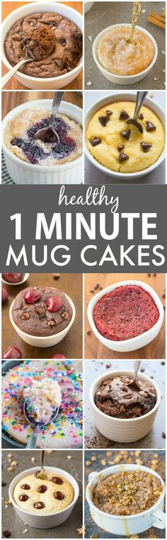 Clean Eating Healthy 1 Minute Mug Cakes Brownies and Muffins (V GF Paleo)- Delicious single-serve desserts and snacks which take less than a minute! Low carb sugar free and more with OVEN options too! Clean Eating Desserts, Köstliche Desserts, Low Carb Desserts, Eating Healthy, Low Carb Recipes, Delicious Desserts, Yummy Food, Healthy College Eating, Healthy Recipes