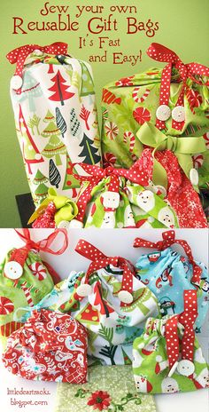 It's so quick and easy to sew your own reusable Christmas gift bags that your family will treasure and use year after year! Find out how with this fun and free tutorial from little dear. #giftbagpattern #reusablegiftbags #giftwrap #holidaygiftwrap
