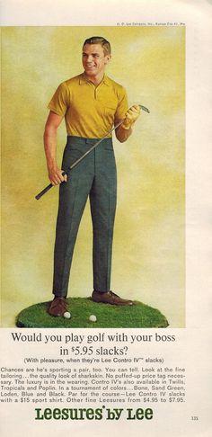 "Vintage Print Ad March 1964 : Lee Jeans Leesures Golf Fashion Clothing Wall Art Decor 5.5"" x 11"" Adv"