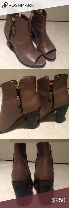Rag & Bone Noelle Ankle Boot Unique brown zip up boots with an open toe. Perfect for the fall. Worn twice. Excellent condition. rag & bone Shoes Heeled Boots